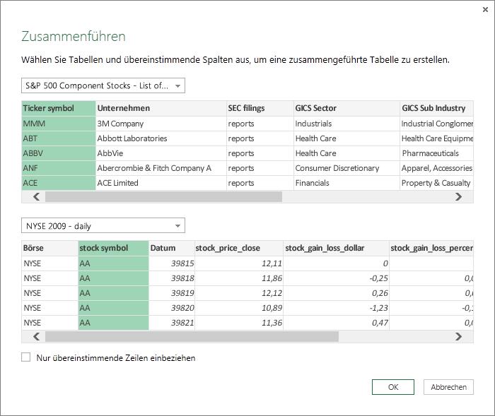 Kombinieren mehrerer Abfragen (Power Query) - Excel