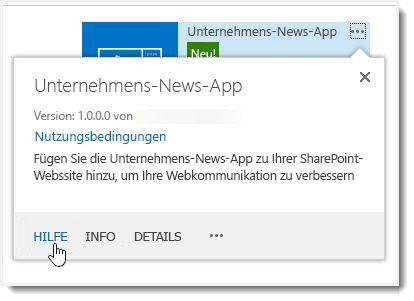 """""""Hilfe""""-Link im Eigenschaftenpopup für eine App"""