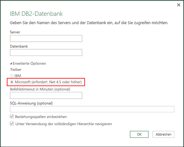 Excel Power BI-Dialogfeld für Connector für IBM DB2-Datenbanken