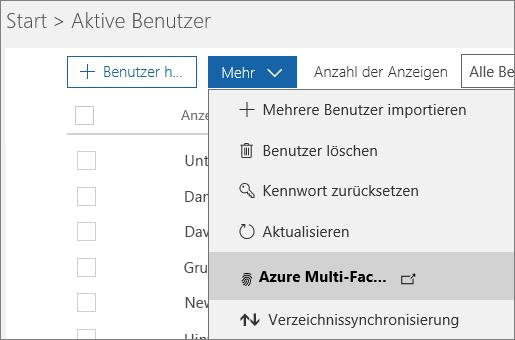 """Das Menü """"Weitere"""" auf der Seite """"Aktive Benutzer"""" mit ausgewählter Option zum Einrichten von Azure Multi-Factor Authentication."""