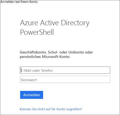 Eingeben Ihrer Azure Active Directory-Administratoranmeldeinformationen