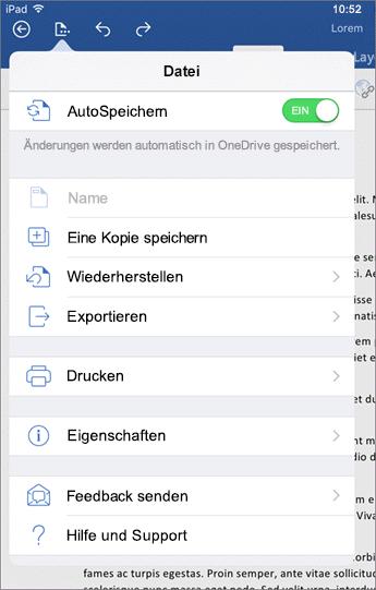 """Über die Schaltfläche """"Datei"""" in Word für iOS können Sie drucken, speichern, Feedback senden und mehr."""