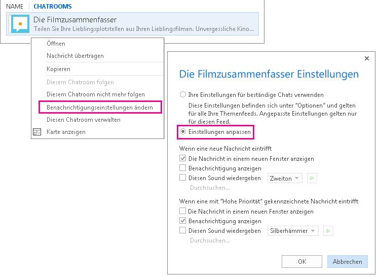 Screenshot der Menüauswahl und des Fensters zum Anpassen von Benachrichtigungen