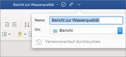 Dropdown in der Titelleiste mit einem Dateinamen und einem Speicherort