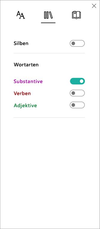 Das Menü der Wortarten im plastischen Reader-Teil des Lerntools für OneNote.