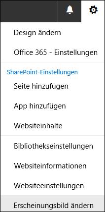 """Screenshot der SharePoint-Menüoption """"Erscheinungsbild ändern""""."""