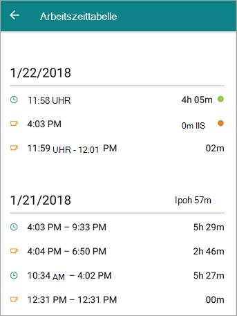 Dies ist wie eines Mitarbeiters Arbeitszeittabelle auf der StaffHub mobile-app aussieht.