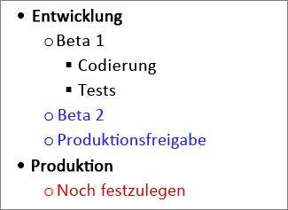 Bild 'Aufgabengliederung in Microsoft Word'