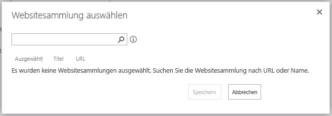 """Seite """"Websitesammlung auswählen"""""""