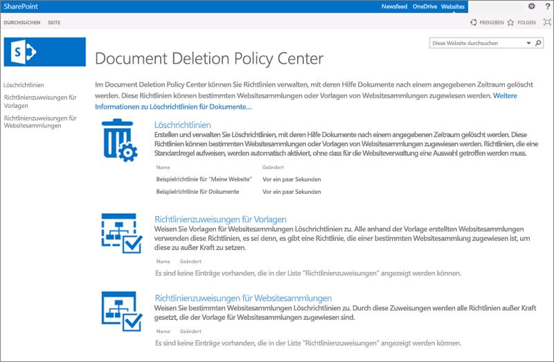 Homepage des Richtliniencenters für das Löschen von Dokumenten