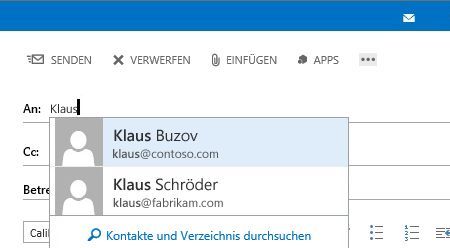 AutoVervollständigen-Liste in Outlook Web App
