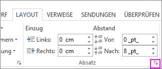 """Der Abschnitt """"Absatz"""" unter """"Seitenlayout"""" in Word"""