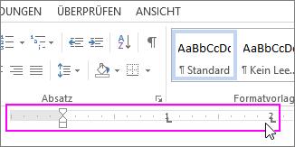Linealmarkierungen in einem Word-Dokument