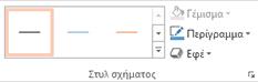 """Η ομάδα """"Στυλ σχήματος"""" στην καρτέλα """"Μορφή"""" στην περιοχή """"Εργαλεία SmartArt"""""""