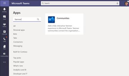 Εγκατάσταση της εφαρμογής κοινότητες του Yammer στο Microsoft teams