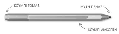 Πένα Surface με επεξηγήσεις για τη γόμα, τη μύτη και το κουμπί δεξιού κλικ