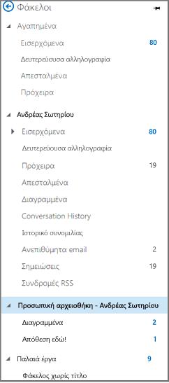 """Παράθυρο περιήγησης από το Outlook με """"Προσωπική αρχειοθήκη"""" Επισήμανση"""