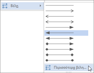 Κάνοντας κλικ στην επιλογή Περισσότερα βέλη για να προσαρμόσετε γραμμής ή βέλους