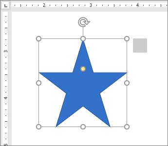 Ένα σχήμα αστεριού με τον χάρακα να εμφανίζεται στη σελίδα