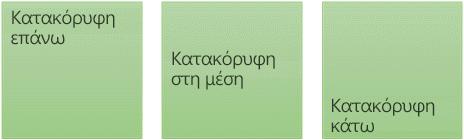 Τρεις κατακόρυφες επιλογές στοίχισης κειμένου: επάνω, μεσαίο και κάτω
