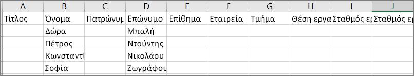Ένα παράδειγμα εμφάνισης ενός αρχείου csv μετά την εξαγωγή επαφών από το Outlook