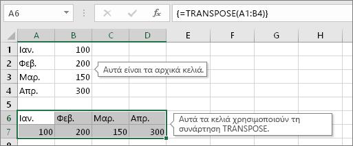 Τα αρχικά κελιά επάνω, τα κελιά με τη συνάρτηση TRANSPOSE κάτω