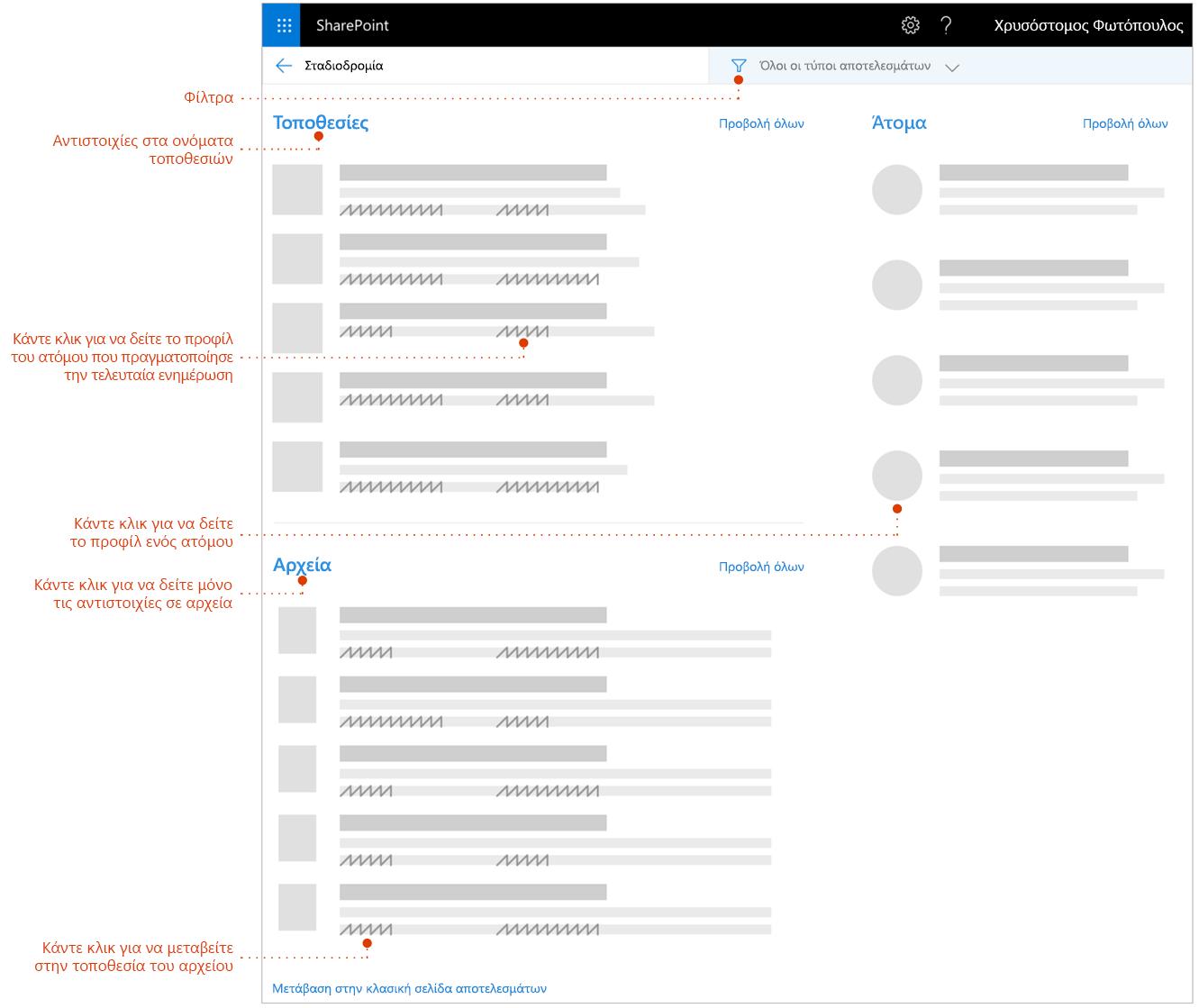 Στιγμιότυπο οθόνης της αναζήτησης αποτελεσμάτων σελίδα με δείκτες για στοιχεία για να εξερευνήσετε.