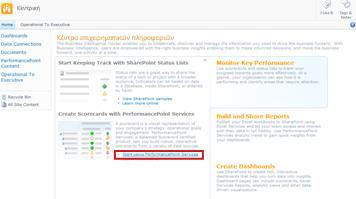 """Επιλέξτε τη σύνδεση """"Έναρξη χρήσης των Υπηρεσιών PerformancePoint"""" για να ανοίξετε το πρότυπο τοποθεσίας του PerformancePoint"""