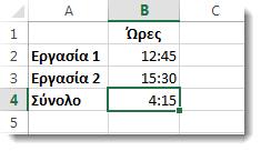 Το άθροισμα χρόνων που υπερβαίνει τις 24 ώρες επιστρέφει το τελείως απρόσμενο αποτέλεσμα 4:15