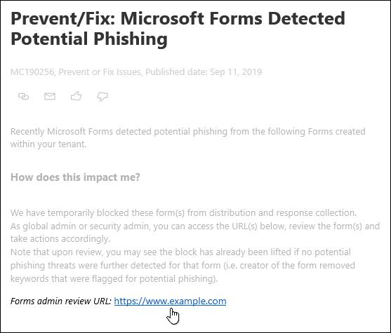 Τοποθετώντας το δείκτη του ποντικιού στην υπερ-σύνδεση URL αναθεώρησης διαχείρισης φορμών στη δημοσίευση του κέντρου διαχείρισης του Microsoft 365 σχετικά με το Microsoft Forms and phishing