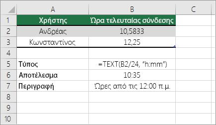 Παράδειγμα: Μετατροπή ωρών από δεκαδικό αριθμό σε τυπική μορφή ώρας