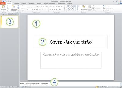 Ο χώρος εργασίας, ή αλλιώς Κανονική προβολή, στο PowerPoint 2010 με τέσσερις περιοχές με ετικέτες.