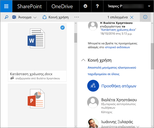 Στιγμιότυπο οθόνης από το παράθυρο λεπτομερειών στο OneDrive για επιχειρήσεις στον SharePoint Server 2016 με πακέτο δυνατοτήτων 1