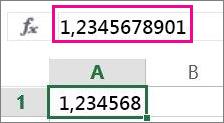 Ο αριθμός εμφανίζεται στρογγυλοποιημένος στο φύλλο εργασίας, αλλά ολόκληρος στη γραμμή τύπων