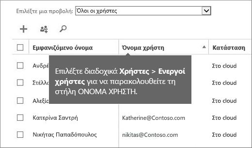 """Στήλη """"Όνομα χρήστη"""" στο κέντρο διαχείρισης του Office 365"""