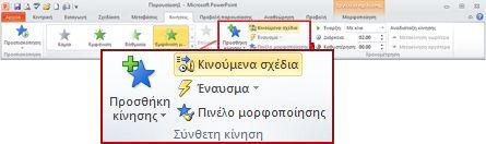 """Η ομάδα """"Σύνθετη κίνηση"""" στην καρτέλα """"Εφέ κίνησης"""" της Κορδέλας του PowerPoint 2010."""