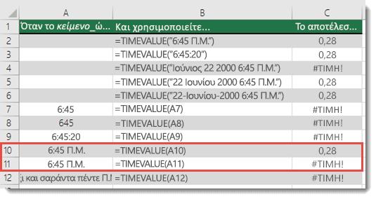 Αποτέλεσμα διαφόρων συναρτήσεων TIMEVALUE