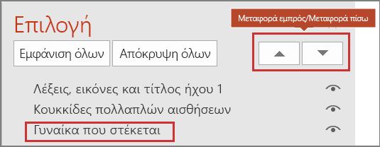 Περιβάλλον εργασίας χρήστη του PowerPoint που εμφανίζει τα στοιχεία στο παράθυρο επιλογής και εμφανίζει τα κουμπιά προώθηση/αποστολή προς τα πίσω.