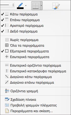 Εμφανίζονται οι επιλογές περιγράμματος για τη σχεδίαση πίνακα