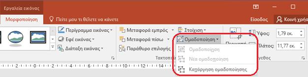 """Η εντολή Κατάργηση ομαδοποίησης στην καρτέλα """"μορφή"""" στην κορδέλα του PowerPoint, στην περιοχή Εργαλεία εικόνας."""