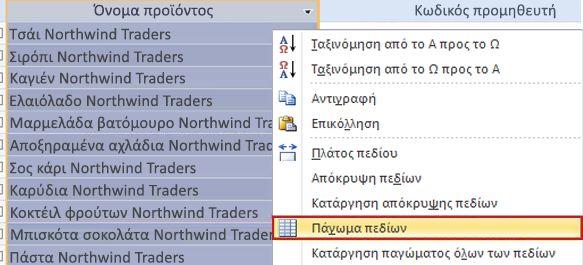Σταθεροποίηση πεδίων σε φύλλο δεδομένων