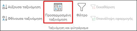 """Επιλογές Προσαρμοσμένης ταξινόμησης του Excel από την καρτέλα """"Δεδομένα"""""""