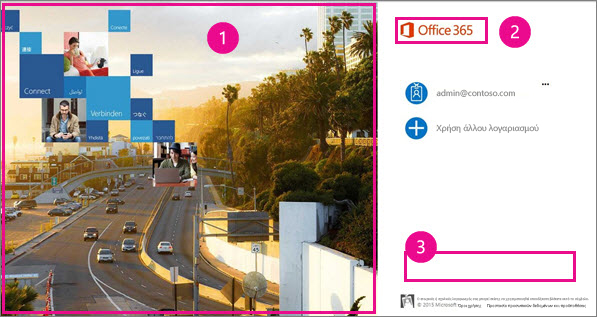 Περιοχές της σελίδας εισόδου του Office 365 που μπορείτε να προσαρμόσετε.