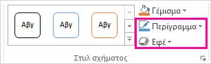 """Η ομάδα """"Στυλ σχήματος"""" στην καρτέλα """"Εργαλεία σχεδίασης/Μορφοποίηση"""""""