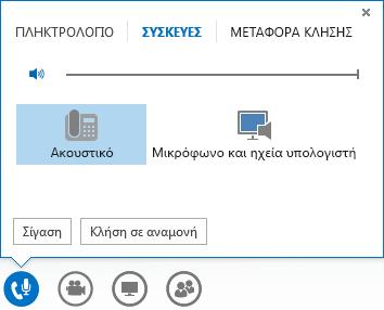 Στιγμιότυπο οθόνης στοιχείων ελέγχου κλήσης ήχου