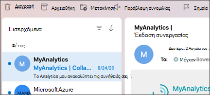 """Κουμπί """"Παράβλεψη συνομιλίας"""" στο Outlook για Mac."""