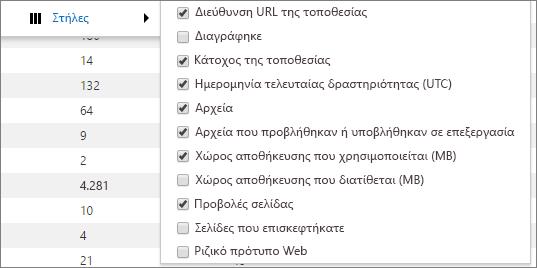Επιλογές στήλης για την αναφορά χρήσης του SharePoint