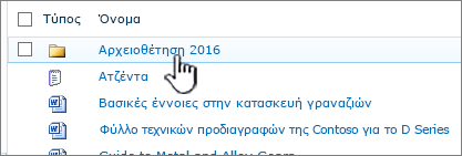 Βιβλιοθήκη εγγράφων του SharePoint 2010 με επισημασμένο το φάκελο