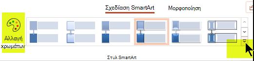 """Μπορείτε να αλλάξετε το χρώμα ή το στυλ του γραφικού, χρησιμοποιώντας τις επιλογές στην καρτέλα """"Σχεδίαση SmartArt"""" της κορδέλας."""