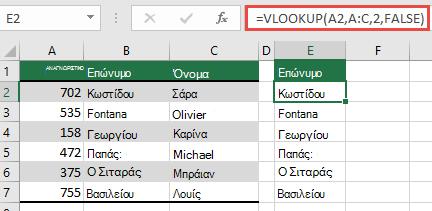 Χρησιμοποιήστε την παραδοσιακή συνάρτηση VLOOKUP με μία μόνο lookup_value αναφορά: = VLOOKUP (a2; A:C; 32; FALSE). Αυτός ο τύπος δεν θα επιστρέψει έναν δυναμικό πίνακα, αλλά μπορεί να χρησιμοποιηθεί με πίνακες του Excel.